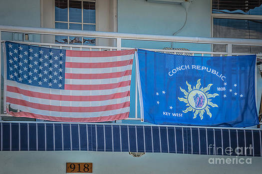 Ian Monk - US Flag and Conch Republic Flag Key West - HDR Style