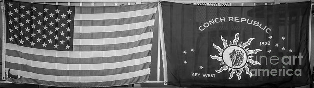 Ian Monk - US Flag and Conch Republic Flag Key West  - Panoramic - Black and White
