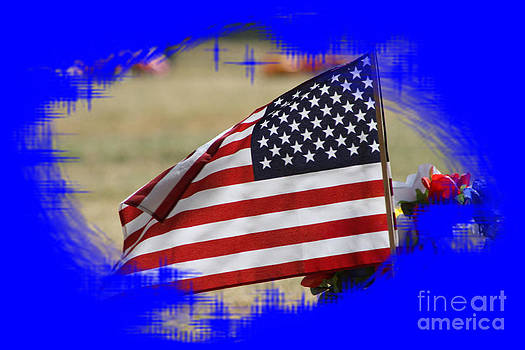 US Flag in BLUE by Robert D  Brozek