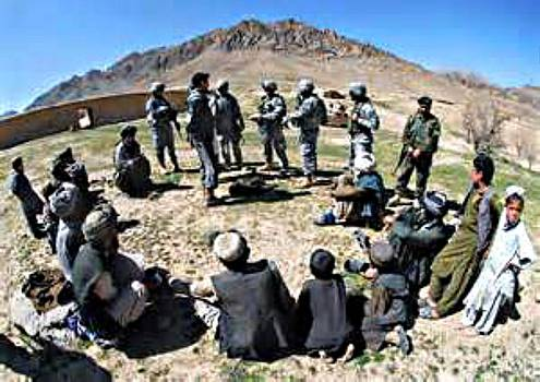 U.S. Soldiers Meeting With Afghan Villagers by Steven  Pipella