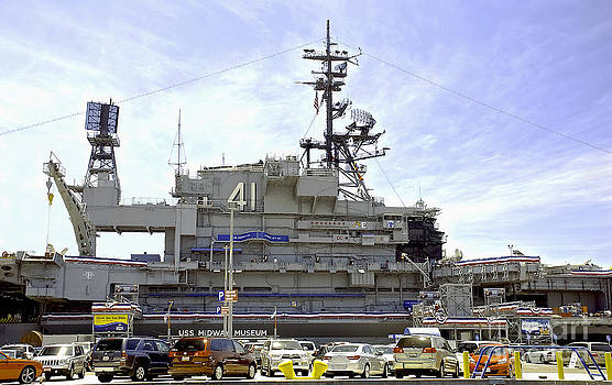 Uss MIDWAY MUSEUM CV 41 Aircraft carrier- from parking lot view by Claudia Ellis