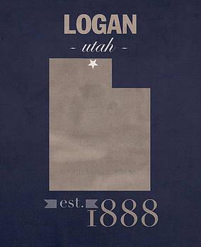 Design Turnpike - Utah State University Aggies Logan College Town State Map Poster Series No 117