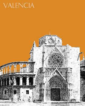 DB Artist - Valencia Skyline Valencia Cathedral - Dark Orange
