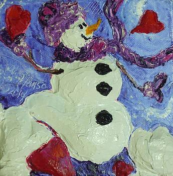 Valentine's Day Hearts Snowman by Paris Wyatt Llanso