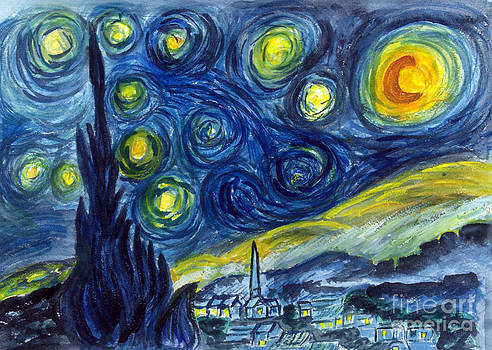 Donna Walsh - van Gogh Starry Night in watercolor