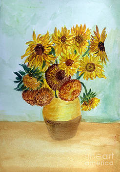 Donna Walsh - van Gogh Sunflowers in watercolor