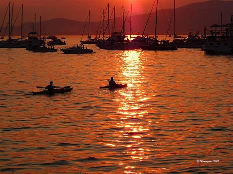 Vancouver boats in sunset-2 by Hemu Aggarwal