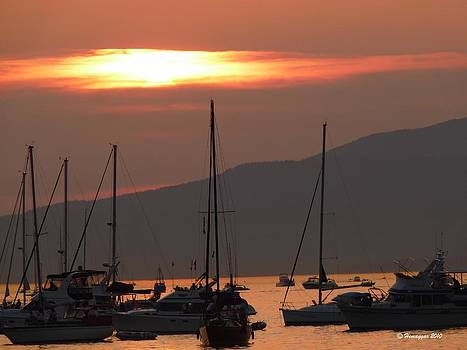 Vancouver boats in sunset by Hemu Aggarwal
