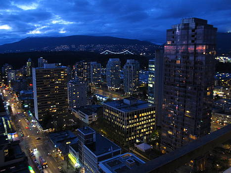 Vancouver City Lights in Blue by Pamela Funk
