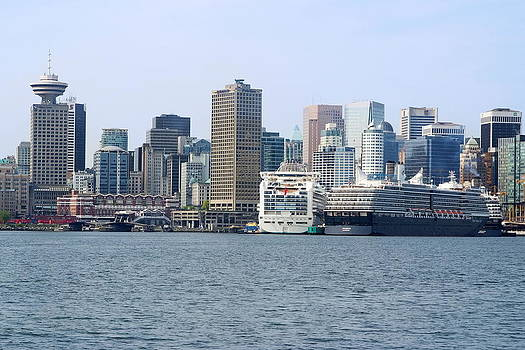 Vancouver Skyline and Cruise Ships by Devinder Sangha