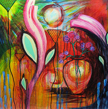 Vase in Blooms by Brenda Nachreiner