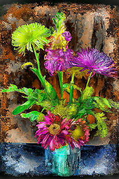 Vase Of Flowers ala Grunge by Kathy Nairn