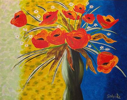 Vase of poppies by Soheila Madani