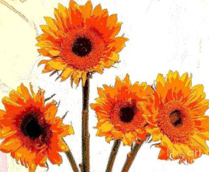 Vase of Sunflowers by Annette Allman