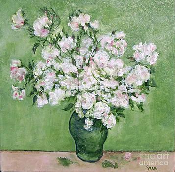 Shan Ungar - Vase of White Roses I - after van Gogh