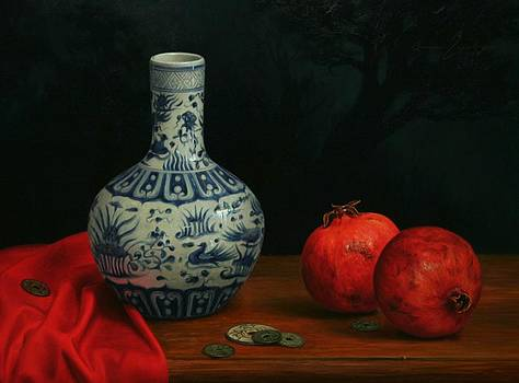 Vase with Coins and Pomegranates by Bruno Capolongo