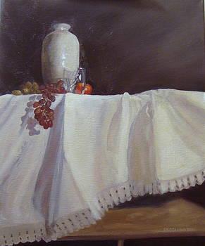 Vase with Fruit on Heirloom Linen by Laura Skoglund