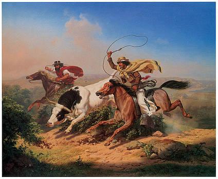 Charles Christian Nahl - Vasqueros Roping a Steer