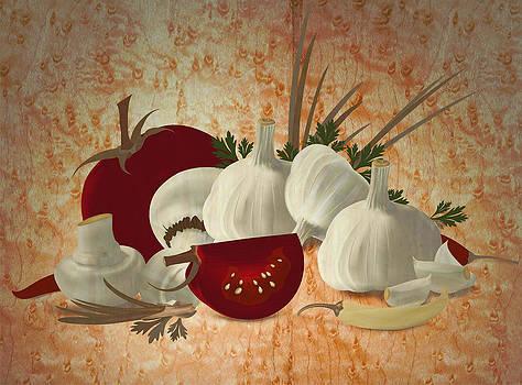 Vegetable still life marquetry by Zsolt Sesztak