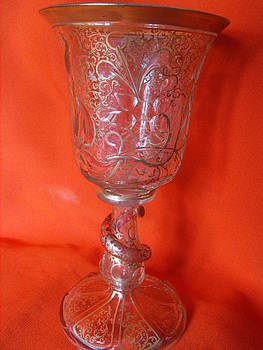 Venetian glass goblet decorated with a floral gilt design and relief glass by Anonymous artist