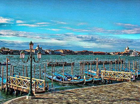 Venice Gondolas on the Grand Canal by Kathy Churchman