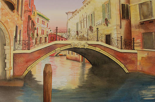 Venice Sunset Carolyn Judge Watercolour by Carolyn Judge