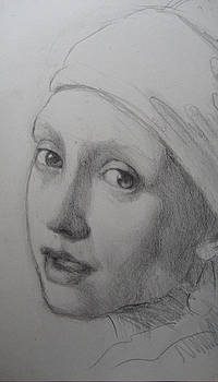 Vermeer's Girl With Pearl Earring 2 by Sam Shacked