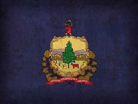 Design Turnpike - Vermont State Flag Art on Worn Canvas