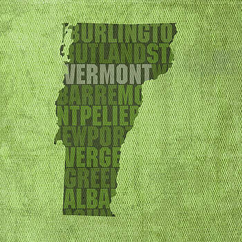Design Turnpike - Vermont Word Art State Map on Canvas