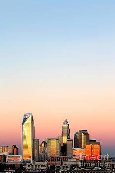 Vertical skyline pink sky Charlotte NC by Patrick Schneider