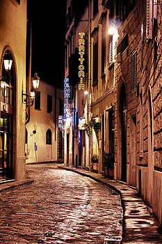Via Del Trebbio at Night by Steve Raley