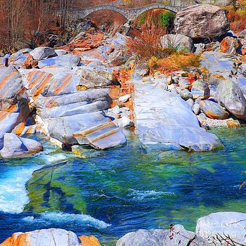 Vibrant colored rocks Verzasca Valley Switzerland II by Lilianna Sokolowska