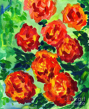 Beverly Claire Kaiya - Vibrant Orange Peonies with Green Leaves