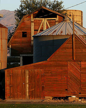 Vibrant Red Barn and Out-buildings by Kirk Strickland