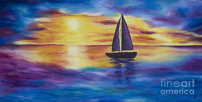 Glowing Sunset Sail by Nicole Burnett