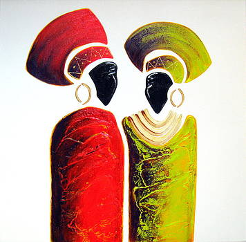 Vibrant Zulu Ladies - Original Artwork by Tracey Armstrong