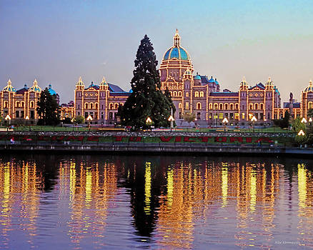 Victoria Night Lights - Parliament Buildings Inner Harbour Vancouver Island  by Alex Khomoutov