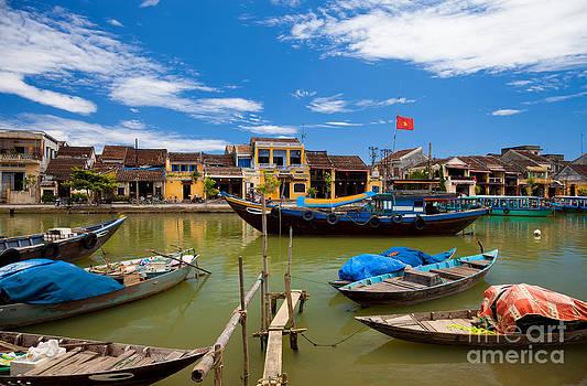Vietnamese boats in Hoi An Vie by Fototrav Print