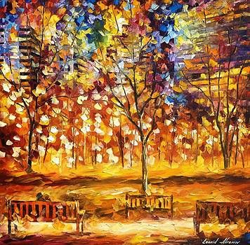 View From The Park - PALETTE KNIFE Oil Painting On Canvas By Leonid Afremov by Leonid Afremov