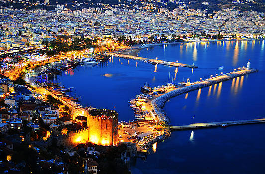 View of Alanya harbor from Alanya peninsula on Turkish Riviera by T Monticello