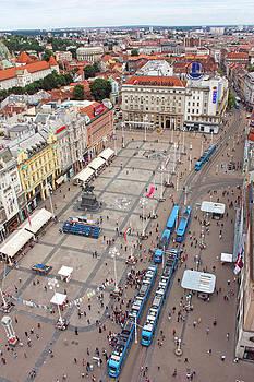View of Ban Jelacic Square Zagreb  by Borislav Marinic
