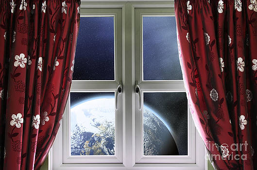 Simon Bratt Photography LRPS - View of the Earth through a window with curtains