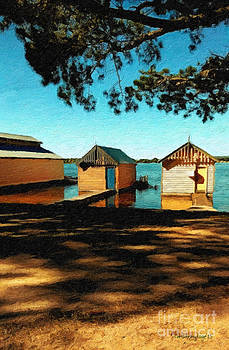 Views from the Lake II - Boathouses by Chris Armytage