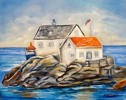 Vikeholmen Lighthouse II by Carol Allen Anfinsen