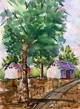 Village painting by Hashim Khan