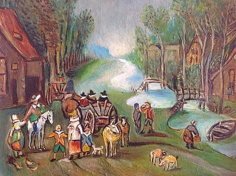 Village scene by Egidio Graziani