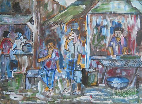 Village Tea-stall by Somnath Mukhopadhyay