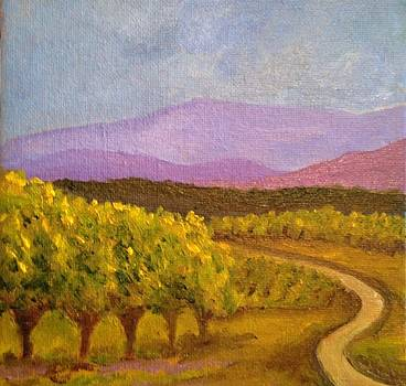 Vineyards and Mountains by Susan Hanning