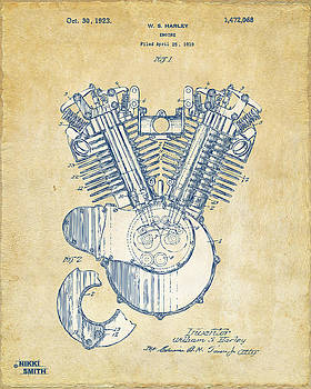 Nikki Marie Smith - Vintage 1923 Harley Engine Patent Artwork