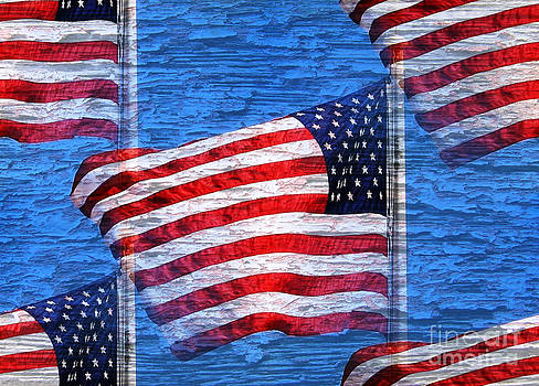 Vintage Amercian Flag Abstract by Judy Palkimas